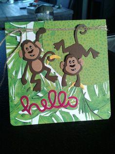 Simpele kaart met aapjes van Marianne Design, gemaakt door Diana