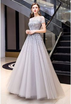 Prom Dresses Long With Sleeves, A Line Prom Dresses, Party Wear Dresses, Ball Dresses, Gowns For Party, Formal Dresses, Princess Prom Dresses, Long Gowns, Sleeved Prom Dress