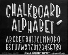 Popular items for chalk letters on Etsy Chalkboard Lettering Alphabet, Chalkboard Clipart, Chalk Fonts, Chalkboard Doodles, Chalk Lettering, Hand Lettering Fonts, Calligraphy Alphabet, Alphabet Letters, Chalk Menu