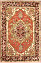 Hand knotted rug with antique Persian Heriz Serapi designs. Field Color: Orange Border Color: Black, Cream, Dark Copper, Grey, Light Blue, Light Green Knots Per Square Inch: 90