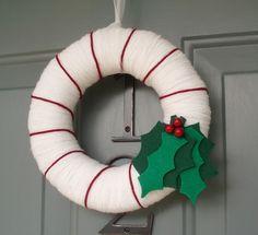 Yarn Wreath Felt Handmade Holiday Door  Holly Christmas by ItzFitz, $35.00