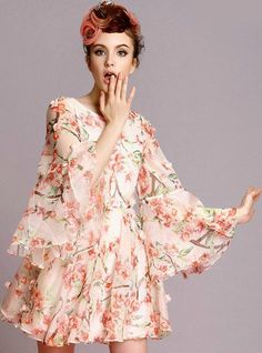 Red Puff Sleeve Floral Applique Silk Dress £38.69