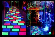 DIY: Mystical Glowing Walkway - Keep your Halloween guests feeling disoriented and off balance as they feel like they are hovering as they walk. Halloween Glow In The Dark Party. Halloween Tanz, Sac Halloween, Holidays Halloween, Halloween Crafts, Happy Halloween, Halloween Party, Halloween Carnival, 80s Party, Diy Halloween Haunted House Ideas