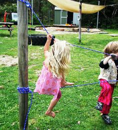 let the children play: building a rope bridge - find a place to put up a rope bridge (temporarily at different times), between tree and deck?