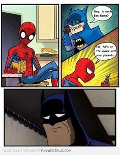 lmfao OH Batman you tight #spiderman #batman #deadparentsmemes
