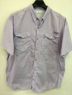 MENS 2XL XXL COLUMBIA PFG OUTDOOR FISHING SHIRT LAVENDER OUTDOOR VENTED   Columbia  ButtonFrontShirt Hunting a93f616acde21