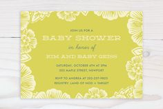 Handcut Florals Baby Shower Invitations by Katharine Watson at minted.com