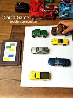Matching game where the kids match up the arrangement of their matchbox cars to match the card.  Includes a free printable template.