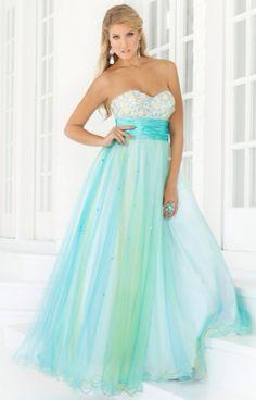 Long, light blue dress