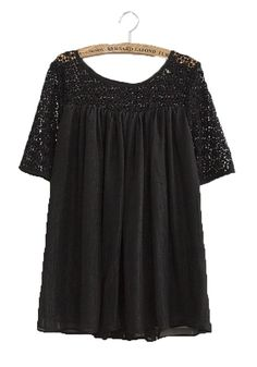 Black Star Bright Wire Pleated Loose Chiffon Blouse