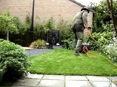 mowing the lawn in waders
