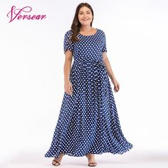 7794fd30769 Find More Dresses Information about Versear Plus Size Maxi Dress in the  Floor Ladies Lace Up Polka Dot Dress Women Summer Dress 2018 Boho Beach  Sundress ...