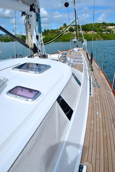 Crewed Charter Sailing Yacht Y Not - clean teak decks are beautiful!