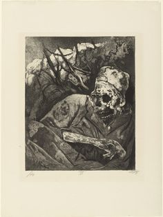 Otto Dix Corpse in Barbed Wire (Flanders) from The War (1924) Etching and aquatint from a portfolio of fifty etching, aquatint and drypoints