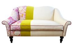 """Chloe Settee - """"This small settee, patchworked in linen and velvet, is the perfect accent piece for a bedroom, breakfast nook, or small seating area. The colors in the watercolor graphic are highlighted with a stripe of citrus velvet and rose-colored contrast welt. The legs conveniently un-screw for easy entry through doorways. Made in the USA."""""""