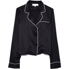 Fleur Du Mal Black Long Sleeve Pajama Top (1.050 BRL) ❤ liked on Polyvore featuring black and fleur du mal
