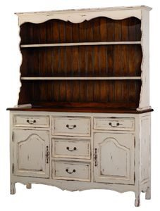Handpainted Farmhouse Buffet Hutch Cabinet Distressed French