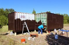 Now that the access road is complete, I can start construction of the shipping container cabin. The first thing to be done is to have the ...