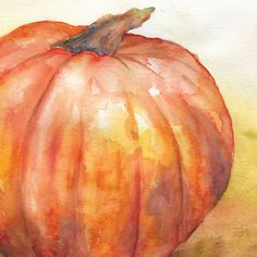 Fall Pumpkin Watercolor Painting Giclee Print 10 x by SusanWindsor