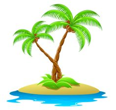 Island with Palm Trees Transparent Clipart