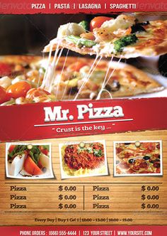 Do you need pizza flyer templates? Here is the best collection of pizza restaurant flyer PSD templates that you can utilize to sell the food products. Restaurant Flyer, Pizza Restaurant, Pizza Flyer, Pizza House, Good Pizza, Psd Templates, Lasagna, Spaghetti, Food And Drink