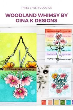 Cheerful Cards with Woodland Whimsy set (Gina K Designs) Turquoise Purse, Purple Purse, Yellow Purses, Red Purses, Gold Foil Paper, Pretty Cards, Daily Bread, Have Some Fun, Spring Colors