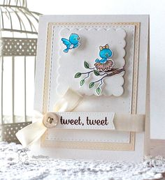 Your Next Stamp card by Angel featuring  Word Critters – Spring Birds   Stitched Rectangles   Scallop Square from Peek a Boo Door die set  #yournextstamp