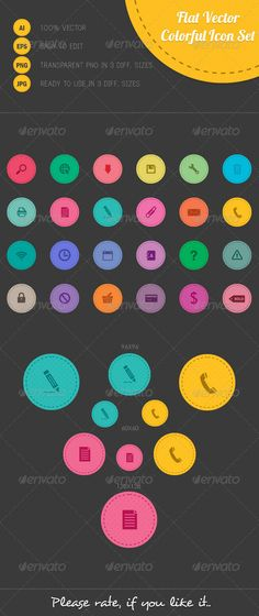 Flat Vector Colorful Icon Set — Vector EPS #web icons #vector • Available here → https://graphicriver.net/item/flat-vector-colorful-icon-set/6665256?ref=pxcr