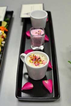 Trio of Rose Flavored Desserts tsp cornflour 2 tbsp whole milk evaporated milk condensed milk double cream tbsp gulkhand – rose petal jam Trio Of Desserts, Indian Desserts, Indian Sweets, Indian Dishes, Indian Food Recipes, Dessert Recipes, Diwali Food, Diwali Party, Indian Ice Cream