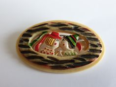 Brooch celluloid 30/40's Japan Spoon Rest, Brooches, Faces, Plastic, Japan, Tableware, Vintage, Collection, Dinnerware
