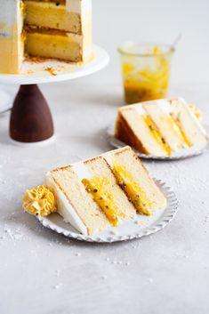 Vanilla Layer Cake with Passionfruit Curd and Vanilla Swiss Meringue Buttercream