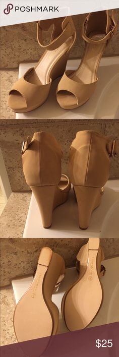 Cream color wedge shoes Suede cream color wedge platform shoes. It is tied to the ankle. Super comfortable. Are new, never worn. Marianne Shoes Platforms