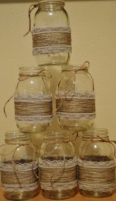 8 Rustic Twine Lace Mason Jar Sleeves, Wedding Decorations, Rustic Wedding Decor, Shabby Chic Jars – Wedding For My Life Mason Jar Twine, Pot Mason Diy, Mason Jar Wine Glass, Mason Jar Crafts, Shabby Chic Jars, Shabby Chic Decor, Diy Bottle, Bottle Crafts, Ball Jars