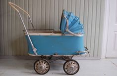 Vintage stroller baby carriage Blue vinyl by TallinnVintage