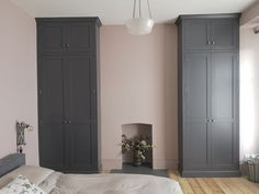 Shaker style alcove wardrobes hand painted in Dulux, Noble Grey. Built In Wardrobe Ideas Alcove, Bedroom Built In Wardrobe, Painted Wardrobe, Wardrobe Room, Bedroom Alcove, Home Bedroom, Bedroom Ideas, Master Bedroom, Alcove Cupboards
