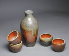 Sake Whiskey Set Wood Fired with Four Cups G56 by JohnMcCoyPottery on Etsy