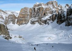 Skiing the Sella Ronda, Dolomites, Italy