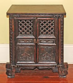 Exceptionnel Antique Asian Furniture, From Shandong Province China, Small Antique Cabinet