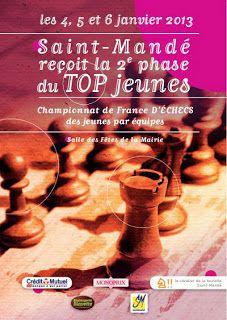 2e phase du Top Jeunes ce week-end à Vandoeuvre pour le Groupe A et à Saint-Mandé pour le groupe B. Cette phase du championnat d'échecs se déroule du 4 au 6 janvier en 4 rondes en fin de vacances scolaires.