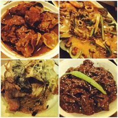 Sinangag na Sinigang, Crispy Dinuguan, Adobo Combo and Seafood Kare Kare. #food #instafood #dinner #pinoy