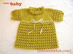 Vestido de crochet verde com laço de fita - Artes & Crochet