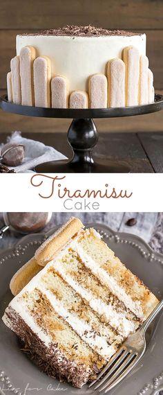 This Tiramisu Cake turns your favourite Italian dessert into a delicious and decadent layer cake. Coffee soaked layers paired with mascarpone buttercream. | livforcake.com #Tiramisucake