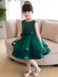 Lovely A-Line Flowers Bowknot Girls Party Dress Red Flower Girl Dresses, Tulle Flower Girl, Little Girl Dresses, Girls Dresses Online, Party Dresses Online, Dress Online, Full Gown, Girls Party Dress, Custom Dresses