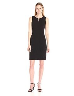 ee13d505d32de Calvin Klein Womens Sleeveless Sheathe with Seaming Deail Black 8 -- Visit  the image link more details.-It is an affiliate link to Amazon.   fashiondresses