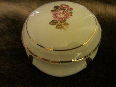 Limoges France Porcelain Box Rose Medallion Gilt Rim