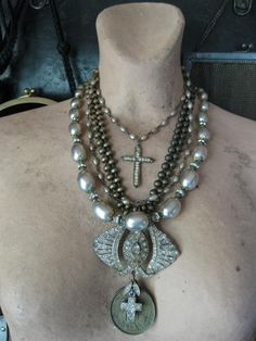 Reserved for Shannon  brass and pearls lot by RedbirdJewelry
