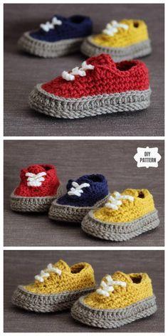 Crochet Vans Style Baby Sneakers Crochet Pattern Crochet Converse, Crochet Baby Shoes, Crochet For Boys, Crochet Baby Booties, Knitted Baby, Crochet Clothes, Crochet Slipper Pattern, Crochet Slippers, Kids Slippers