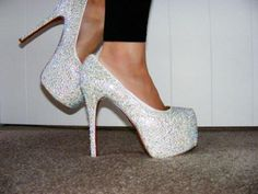 White glitter heels