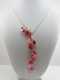 Pink & Coral Swarovski Crystal Bridesmaids Jewelry - custom and handmade