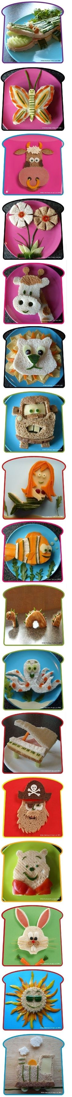 "How cute are these kiddo sandwiches! Do you make ""food art"" for your kids? Cut their sandwiches in cute shapes? How do you make mealtime fun? Cute Food, Good Food, Yummy Food, Toddler Meals, Kids Meals, Toddler Food, Boite A Lunch, Food Humor, Kid Friendly Meals"